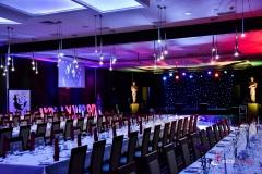 Dekoracja sali w hotelu Mikołajki***** - impreza Hollywood firmy Elite Music